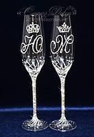 Свадебные бокалы с инициалами и коронами в стразах (уточняйте сроки) ТІДК-11, фото 1