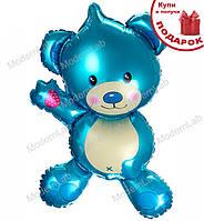 """Воздушный шарик """"Мишка"""", высота - 80 см., цвет - синий металлик"""