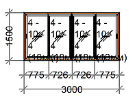 Раздвижное окно четырехстворчатое SWS, рама 80 мм, фото 1