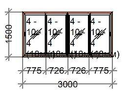 Розсувне вікно четырехстворчатое SWS, рама 60 мм