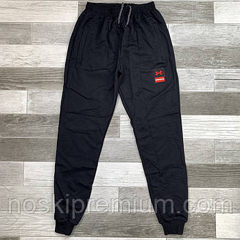 Штаны спортивные мужские хлопок с манжетом Under Armour, размеры 46-54, чёрные, модель СМ 0105/01
