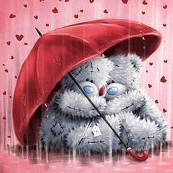 Алмазная Мозаика Мишки Тедди под Зонтом Набор Детской Вышивки Камнями DIY-Q1088 30x30 см