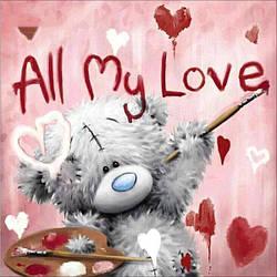 Алмазная Мозаика Мишка Тедди All My Love Набор Детской Вышивки Камнями DIY-6898  30x30 см
