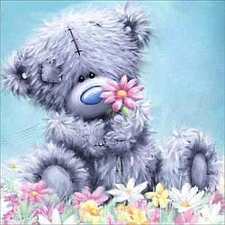 Алмазная Мозаика Мишка Тедди на Поляне Набор Детской Вышивки Камнями DIY-6339 30x30 см