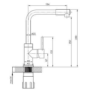 Смеситель для кухни Imprese LOTTA высокий нос сатин 35 мм 55400, фото 2