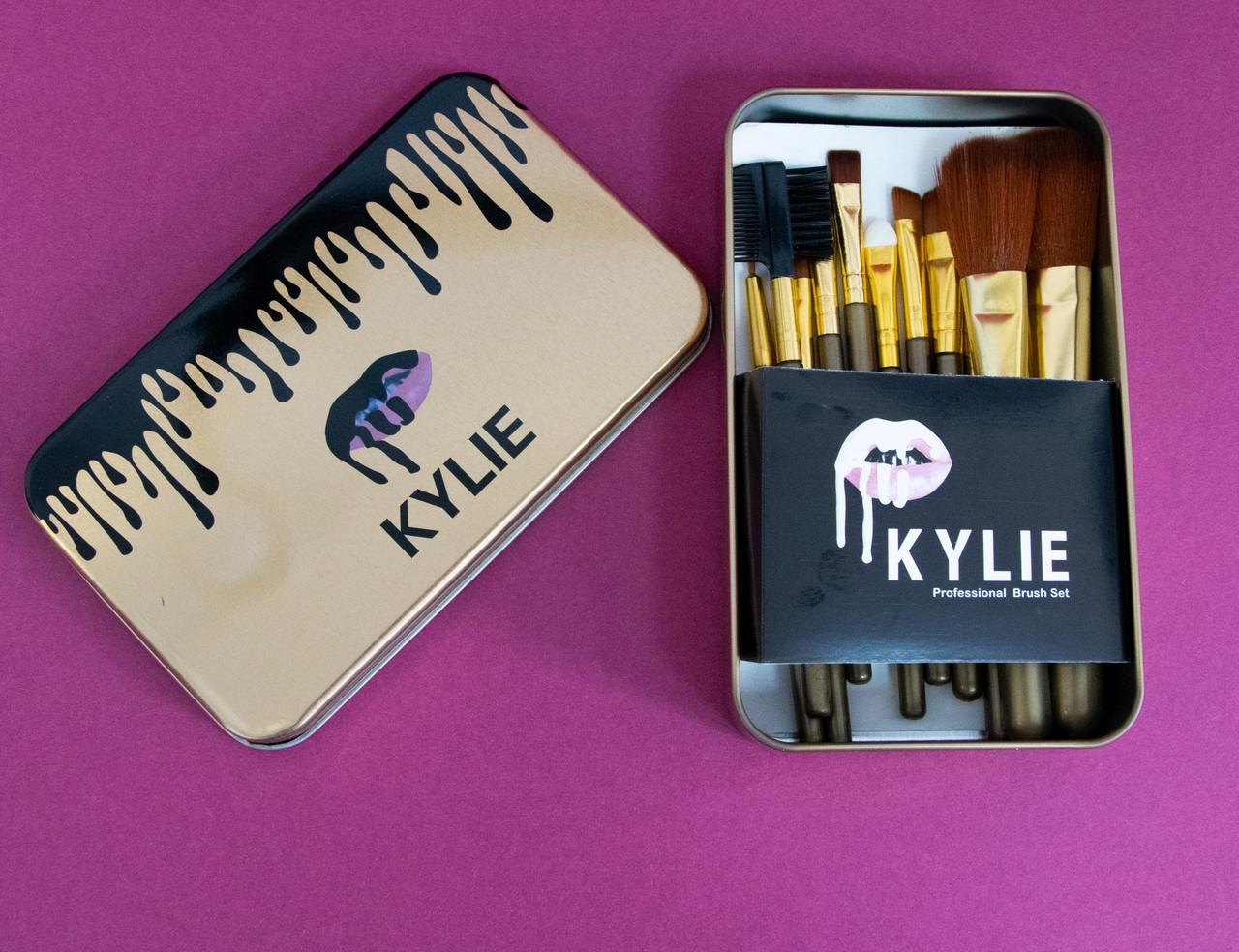 Розпродаж! Набір кистей для макіяжу 12 шт., золоті кисті Kylie для розтушовування тіней пудри тональної основи
