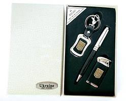 Подарочный Набор 3 в 1 UKRAINE (брелок, ручка, зажигалка)