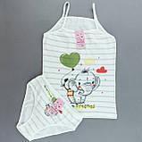 Комплект білизни майка трусики для дівчинки Слоник, бавовна, фото 3