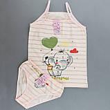 Комплект білизни майка трусики для дівчинки Слоник, бавовна, фото 2