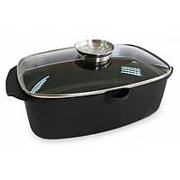 Гусятниця з кришкою Black Pro New 5,6 л алюмінієва з антипригарним покриттям Lessner 55873