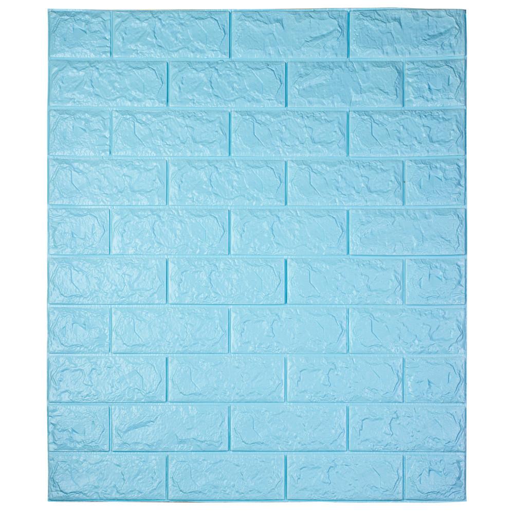 Самоклеющаяся декоративная 3D панель под кирпич / Цвет Голубой 700*770*7мм