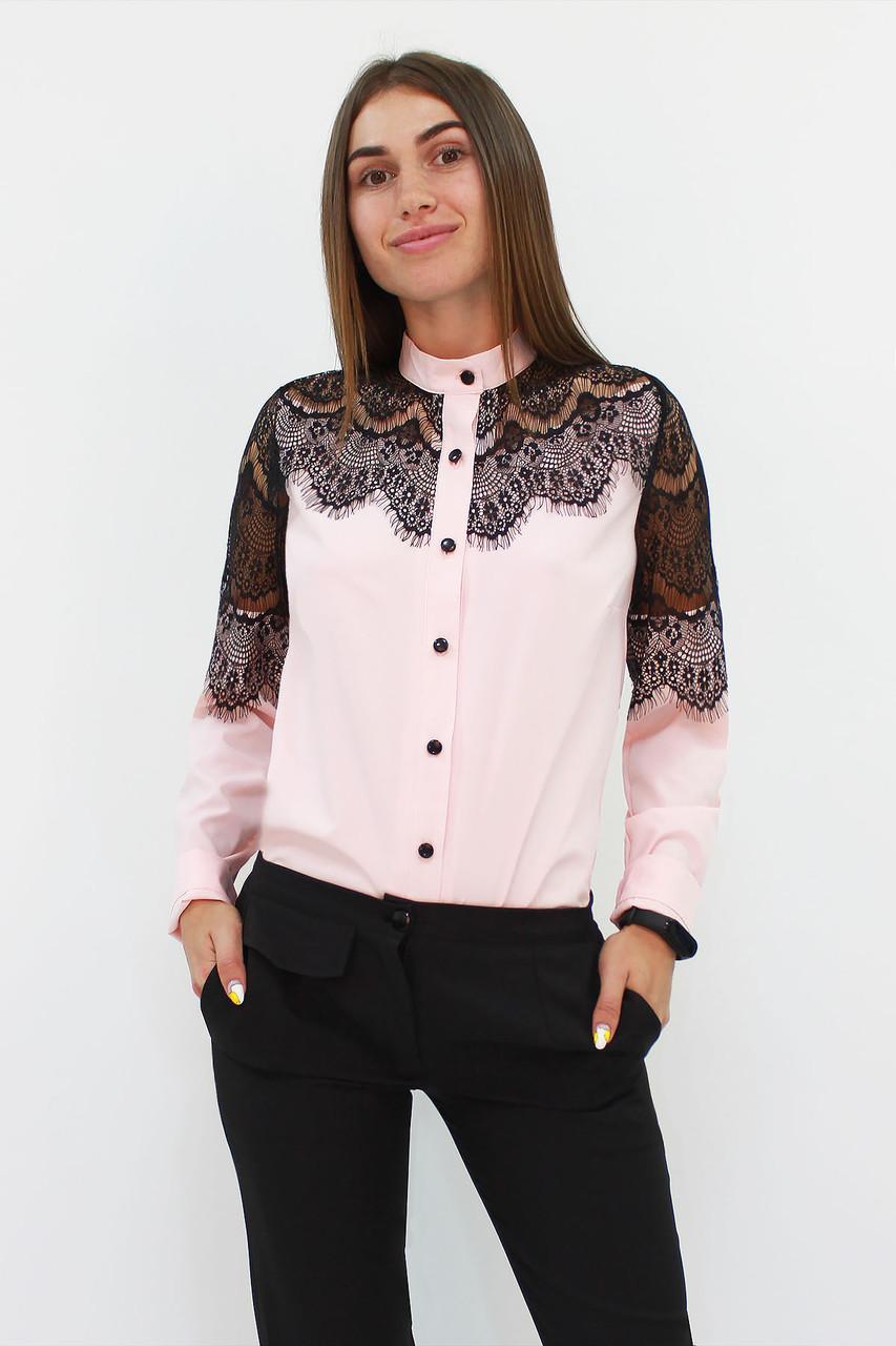 S, M, L, XL | Романтична жіноча блузка з мереживом Gilmor, персик