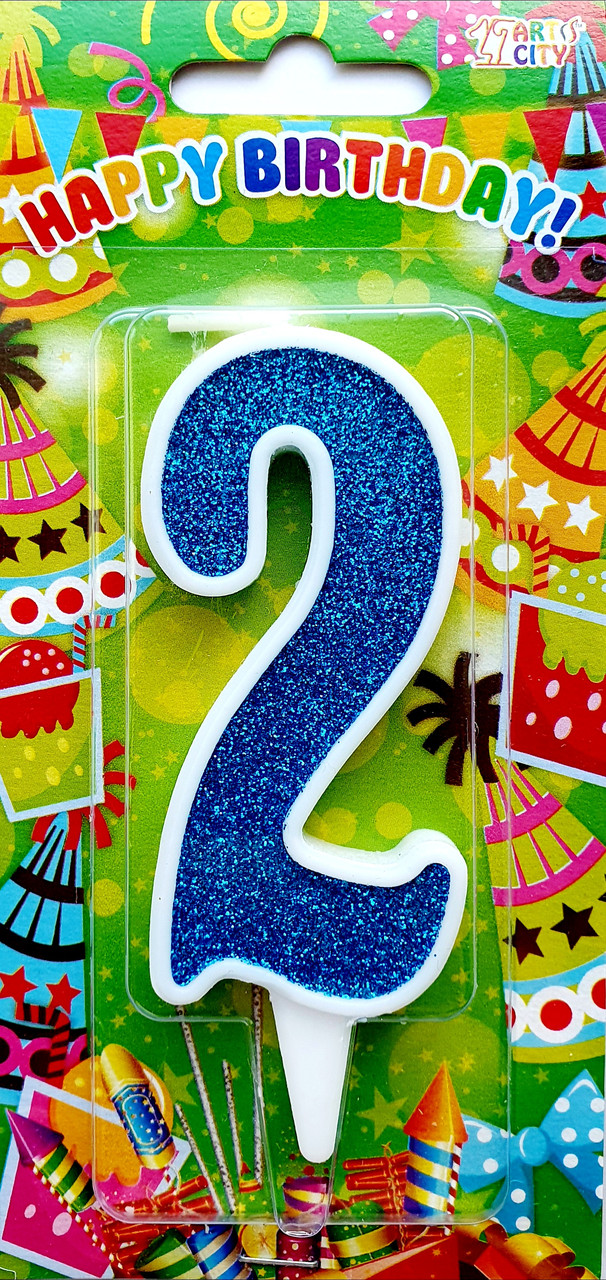 """Свеча цифра """"2"""" для торта. Синяя тортовая свеча в белой окантовке."""
