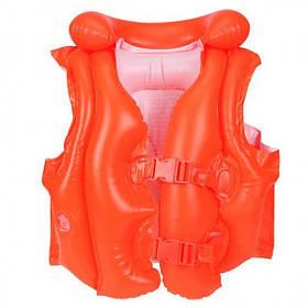 Детский Надувной Жилет Для Плавания Intex 50х47 см. с Застёжками и Подголовником, 3 Камеры, Винил (58671)