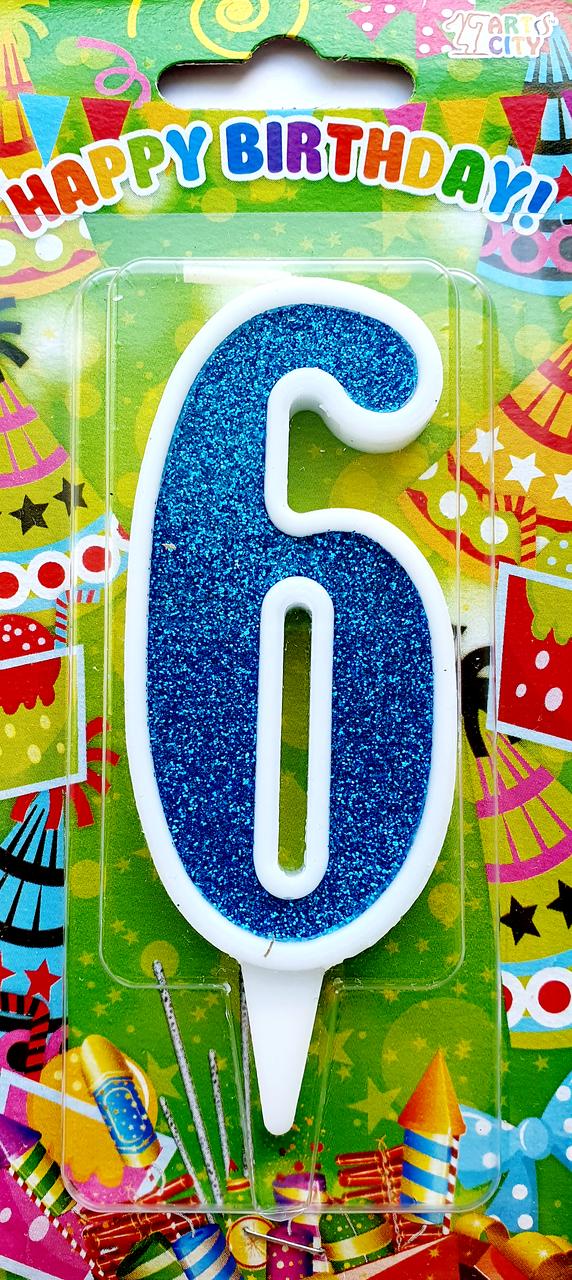 """Свеча цифра """"6"""" для торта. Синяя тортовая свеча в белой окантовке."""