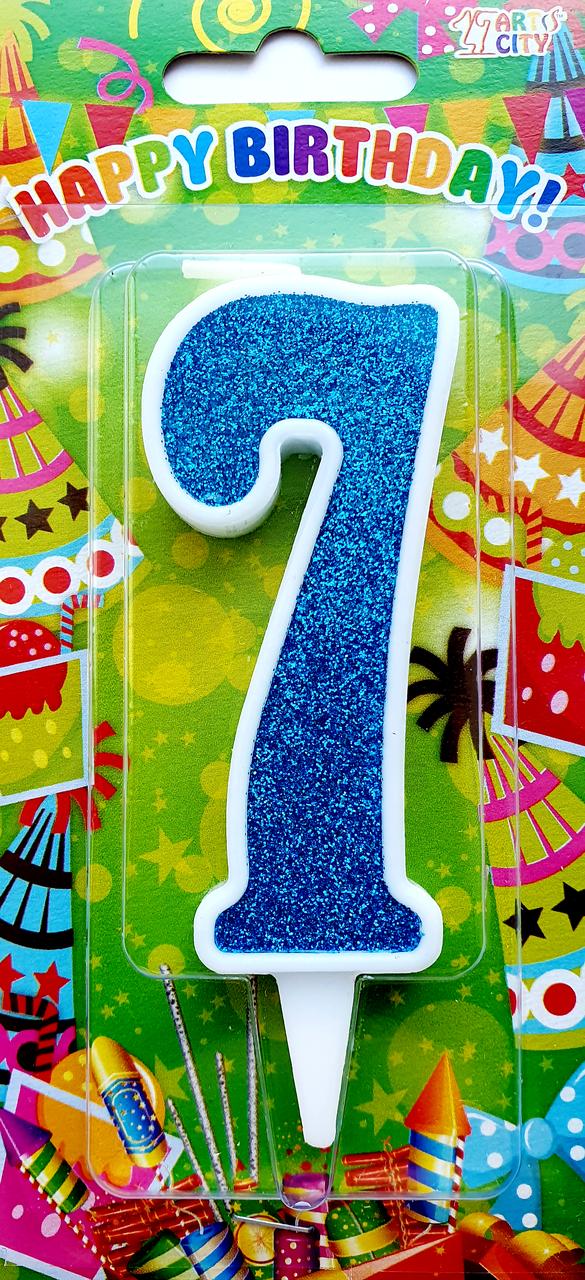 """Свеча цифра """"7"""" для торта. Синяя тортовая свеча в белой окантовке."""