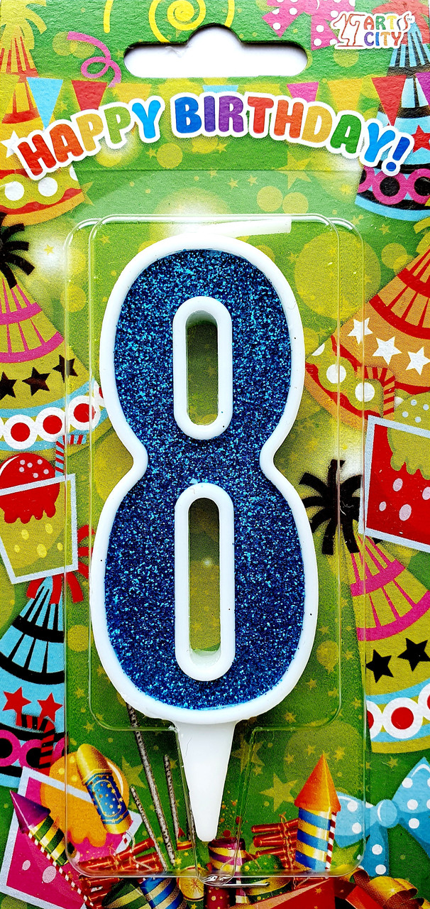 """Свеча цифра """"8"""" для торта. Синяя тортовая свеча в белой окантовке."""