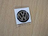 Наклейка s круглая Volkswagen 12х12х1.2мм черный фон силиконовая эмблема в круге на авто Волксваген сигнализац, фото 2