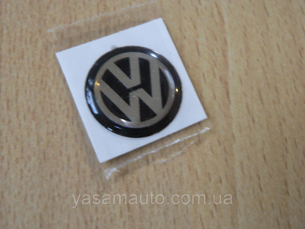 Наклейка s круглая Volkswagen 12х12х1.2мм черный фон силиконовая эмблема в круге на авто Волксваген сигнализац