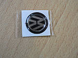Наклейка s круглая Volkswagen 12х12х1.2мм черный фон силиконовая эмблема в круге на авто Волксваген сигнализац, фото 3