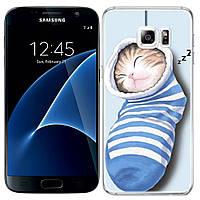 Чехлы U-Like Чехол силиконовый с принтом Милые котята для Samsung G930F Galaxy S7 (Котенок в носке) (9552)