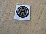 Наклейка s круглая Volkswagen 14х14х1.4мм черный фон силиконовая эмблема в круге на авто Волксваген сигнализац, фото 4