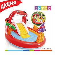 Надувной игровой центр Intex «Дино» (Детский надувной бассейн с горкой Intex 57163) 196х170х107 см, от 2 лет