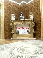 Камінний портал, модель 1+ фарбування в золото, декоративний камін, гіпсовий портал