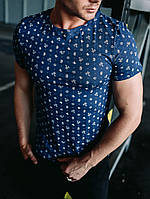 Футболка річна стильна молодіжна чоловіча синя з принтом Кактуси, фото 1