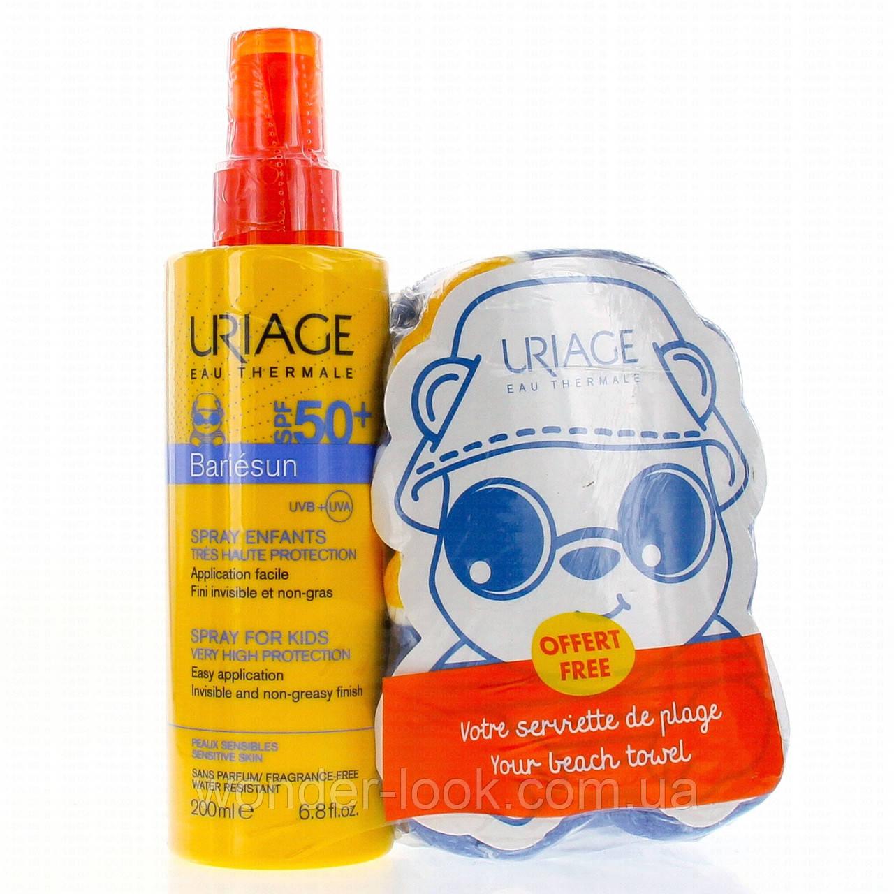 Дитяче сонцезахисне молочко Урьяж + дитячий рушник Uriage Bariésun Spray For Kids SPF 50+ 200ml