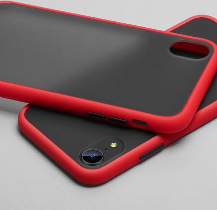 Чехол бампер soft-touch для Xiaomi Redmi Note 7 Цвет чехла красный, кнопки - чёрные