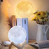 Лампа Луна 3D Moon Lamp. Настольный светильник луна Magic 3D. 3D ночник, светильник на сенсорном управлении, фото 6