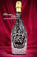 Свадебное шампанское с короной и инициалами в стразах (уточняйте сроки) Ш8, фото 1