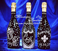 Набор свадебного шампанского в стразах 3 бутылки (уточняйте сроки) Ш13, фото 1