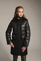 Женский пуховик-пальто комбинированный стильный К-15.