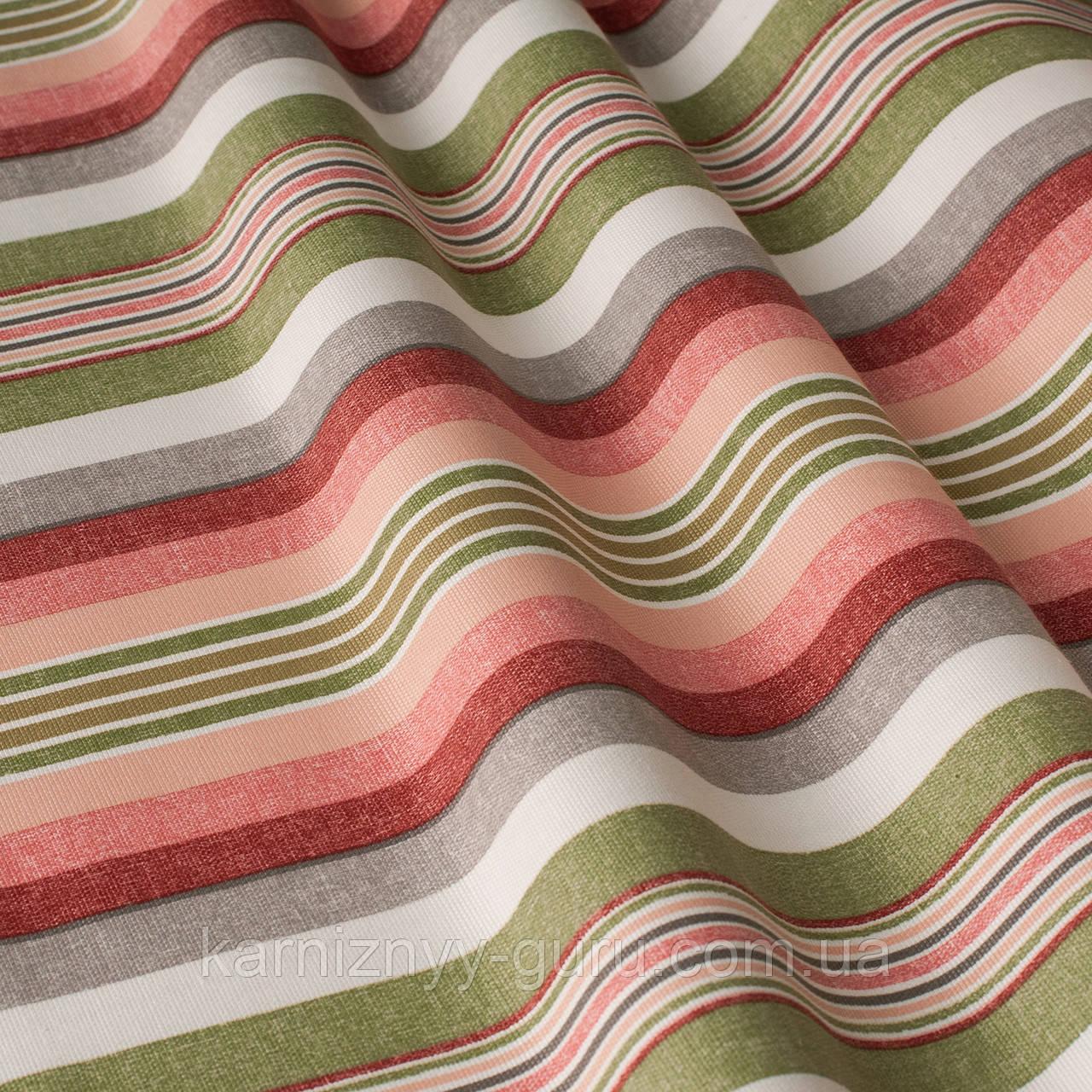 Декоративная ткань в полоску розово-зеленого цвета 180 см 84610v6