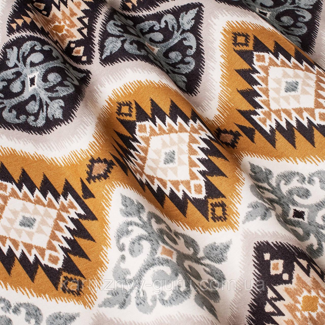 Декоративная ткань пэчворк желтого и бежевого цвета Турция 84493v1