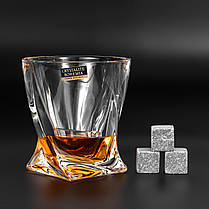 Камни для виски. Подарок мужу. Камни для виски подарочный деревянный набор с бокалом Bohemia, фото 3