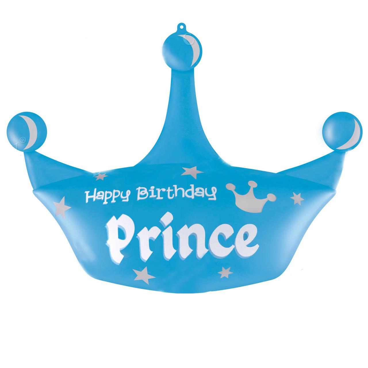 Фол шар фигура ХБ Корона голубая Happy Birthday Prince (Китай)