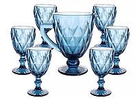 Набор стеклянных бокалов с Кувшином для вина  цвет- синий 7 предметов