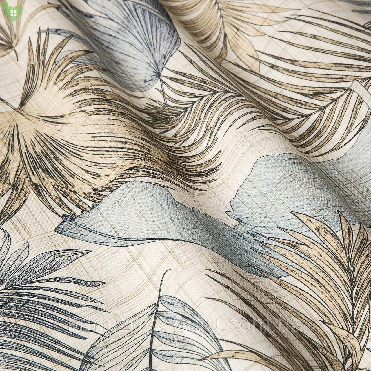 Декоративная ткань с тропическими растениями светло-голубого и бежевого цвета  Испания 83430v2