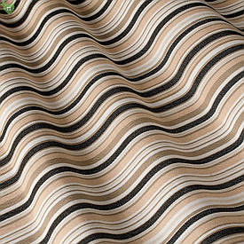 Уличная ткань с тонкими черными и коричневыми полосками на бежевом Испания 83414v5