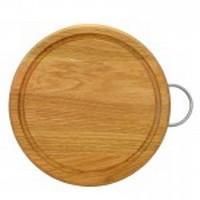 Разделочная доска 25 см. круглая деревянная с ручкой ясень, дуб РД-22