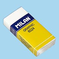 """Ластик Milan 6024CPM бiлий прямокутний  52х30х9мм """"Graphic"""" каучук"""