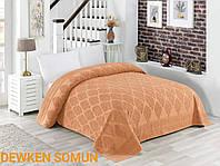 Махровая простынь-покрывало персиковое хлопковое двуспальное/евро 200*220  цвет  450г/м2 Dewken Somun, Турция