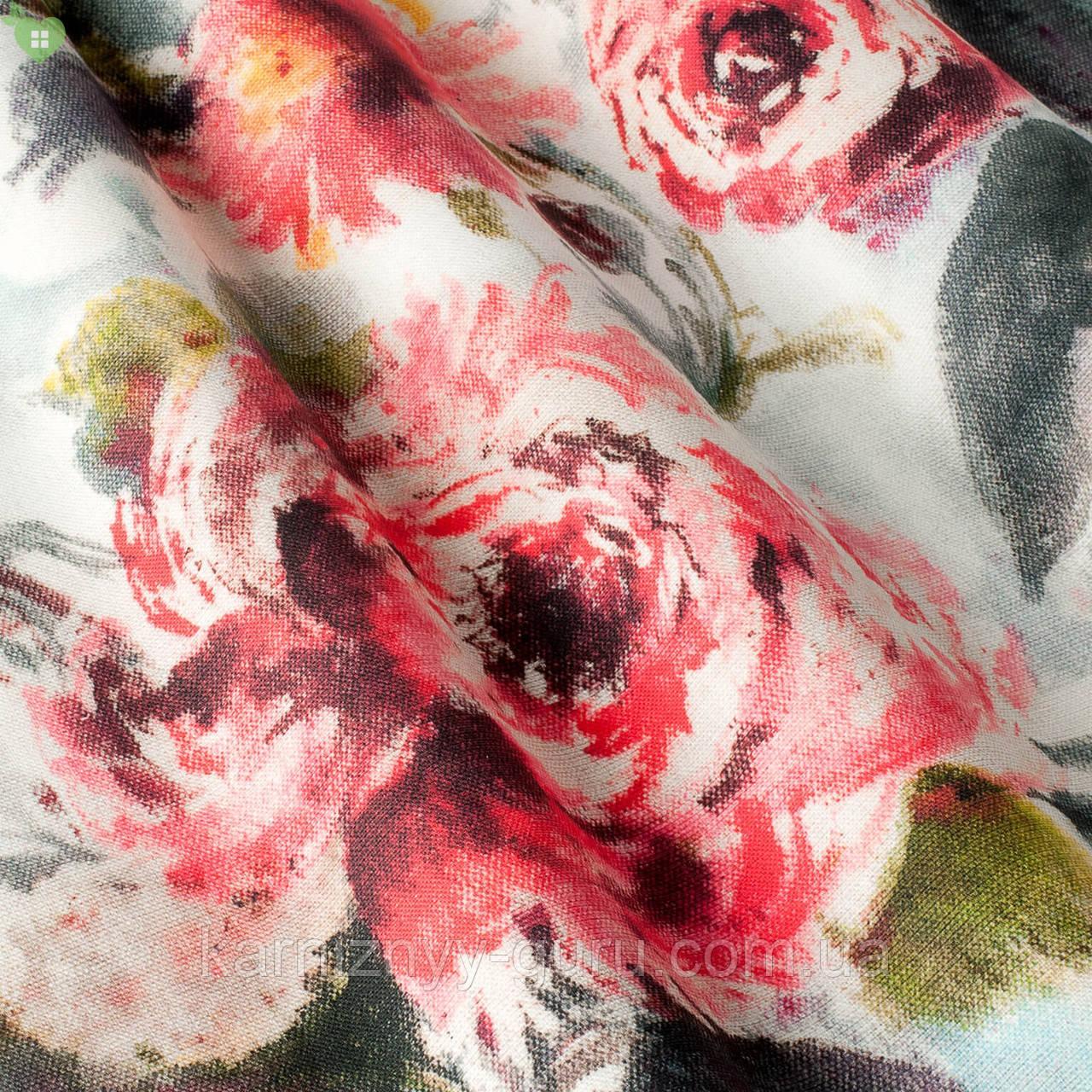 Декоративная ткань с розами темно-зеленого и бордового цвета Испания 82906v1