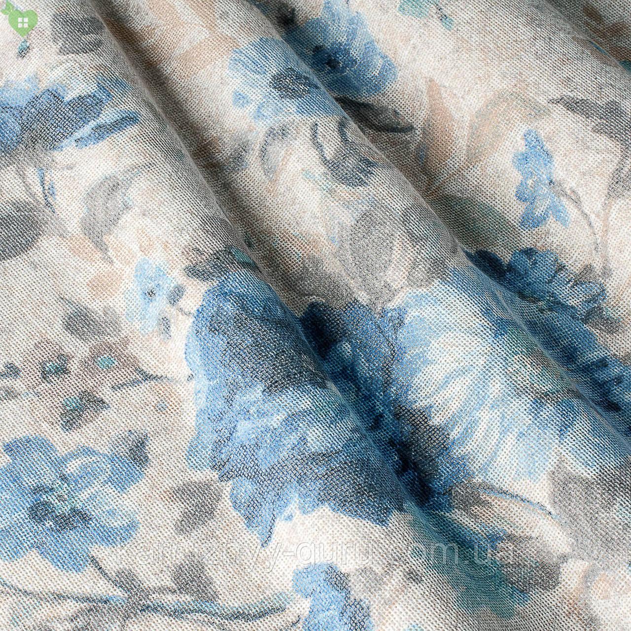 Тюль с голубыми васильками на светло-бежевом Испания 82881v1