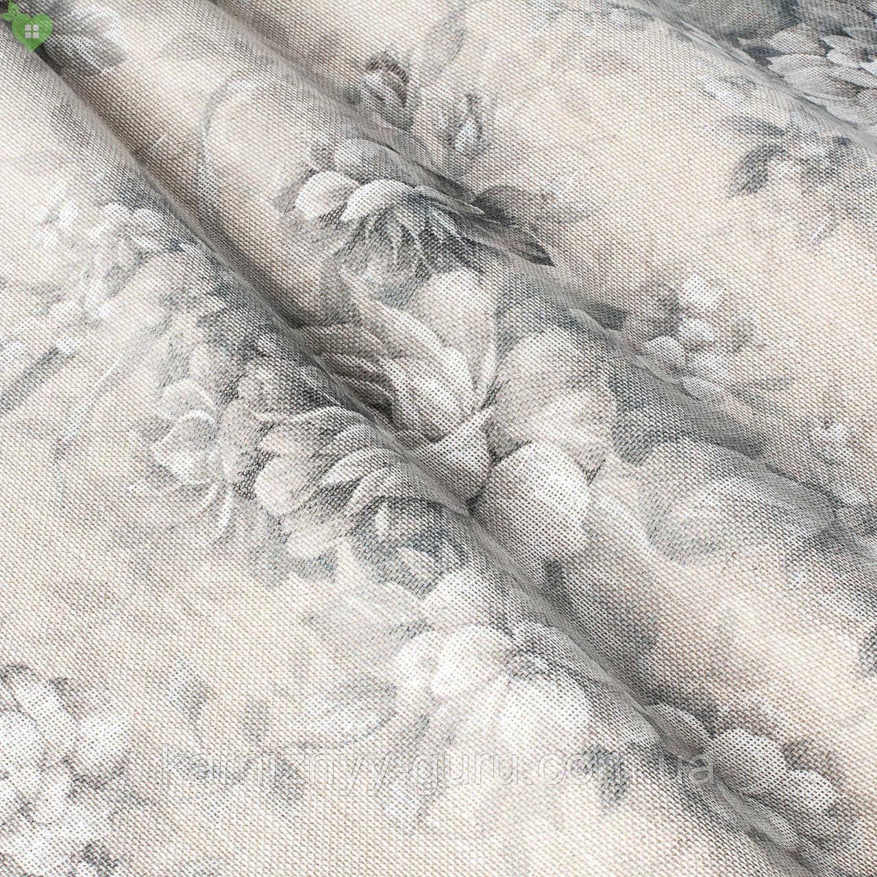 Тюль с серыми цветами на бежевом фоне Испания 82875v1