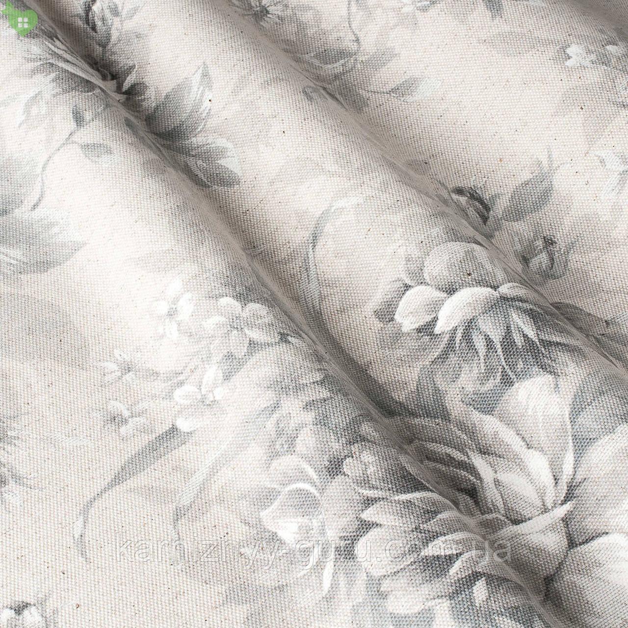 Декоративная ткань с крупными серыми цветами на бежевом Испания 82872v1