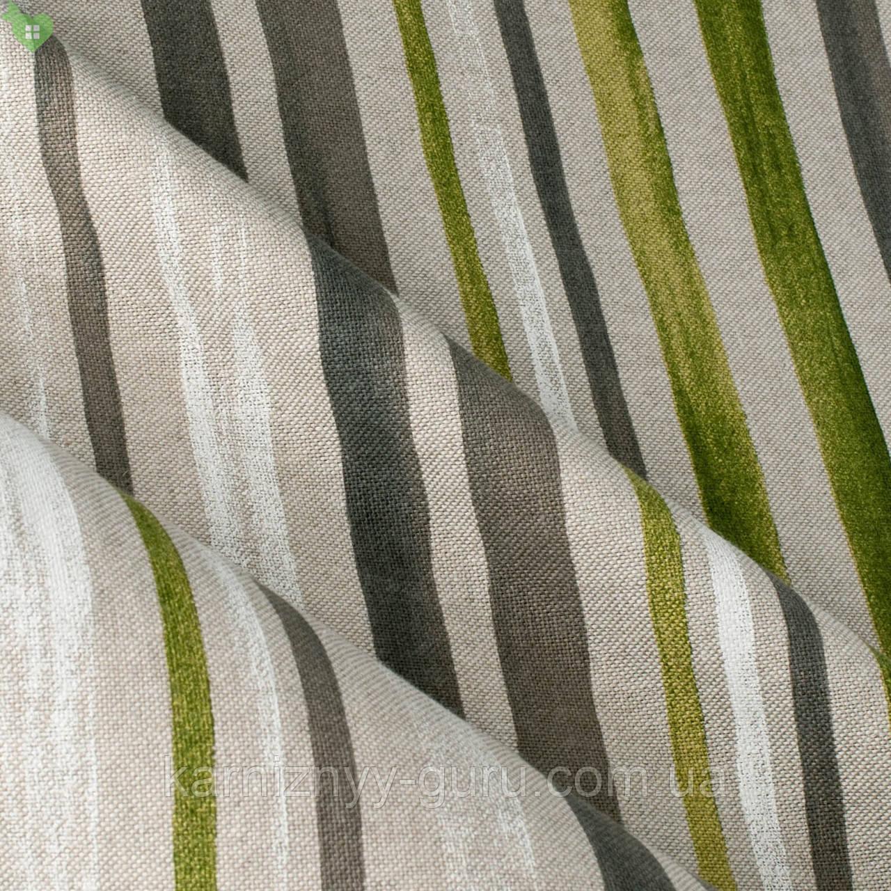 Декоративная ткань в тонкую салатную и пурпурную полоску на светло-сером Испания 82829v3